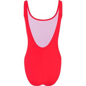 speedo Stripe Logo Deep U-Back Costume intero Donna, sunflow lava red/white